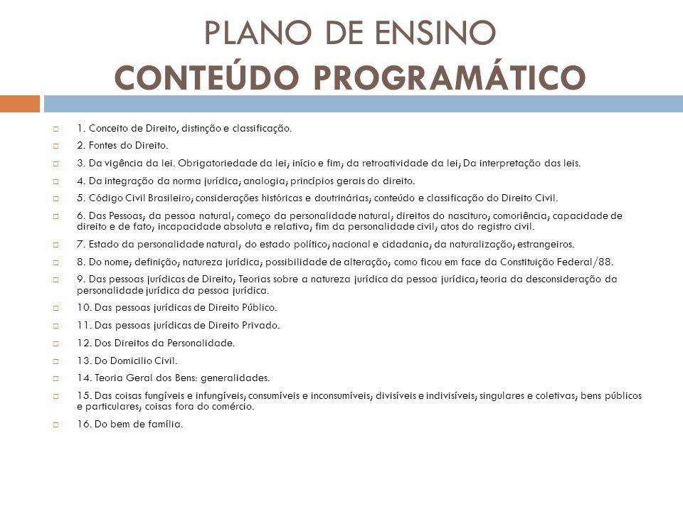 PLANO DE ENSINO CONTEÚDO PROGRAMÁTICO