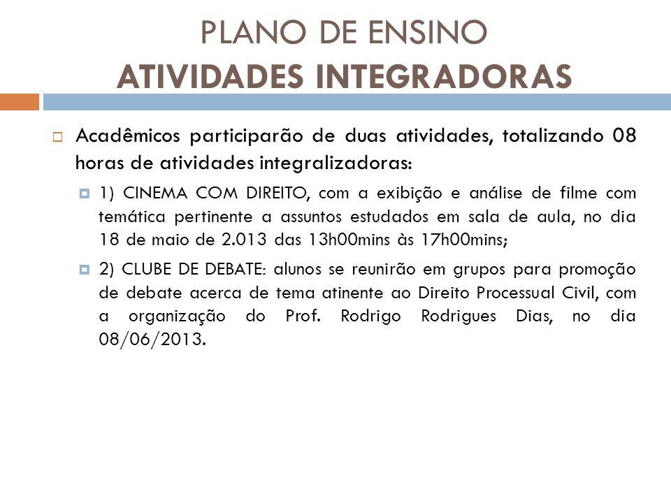 PLANO DE ENSINO ATIVIDADES INTEGRADORAS