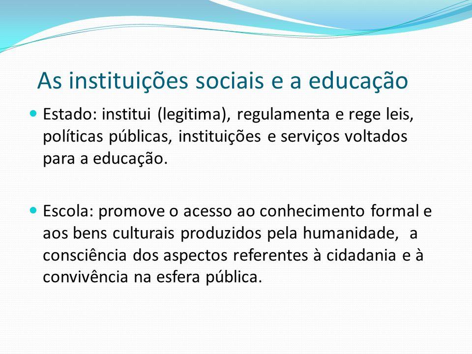 As instituições sociais e a educação