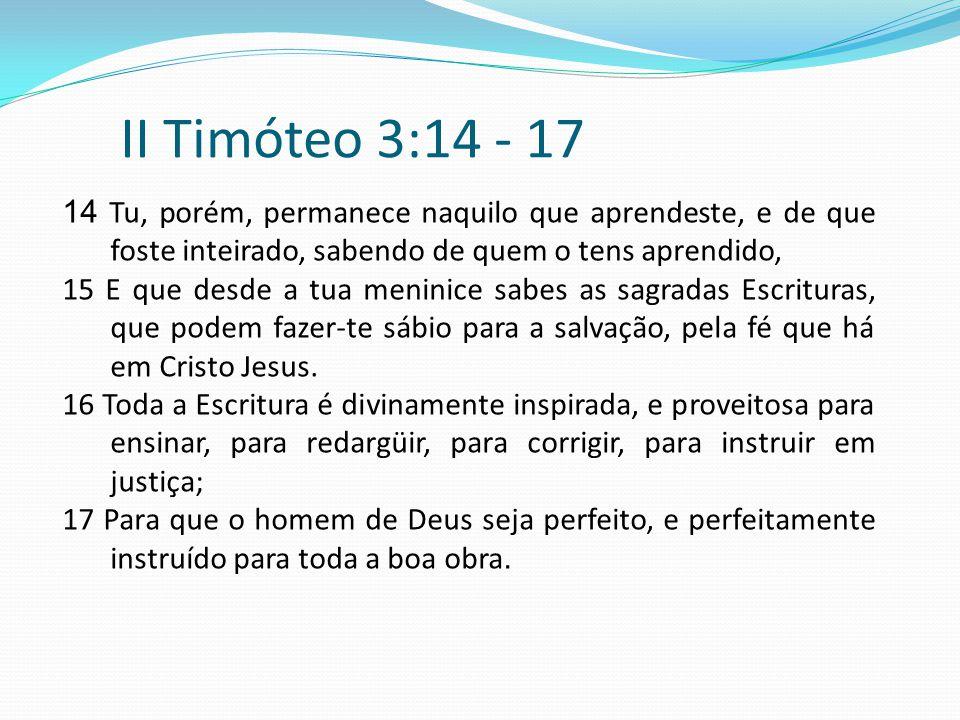 II Timóteo 3:14 - 17 14 Tu, porém, permanece naquilo que aprendeste, e de que foste inteirado, sabendo de quem o tens aprendido,