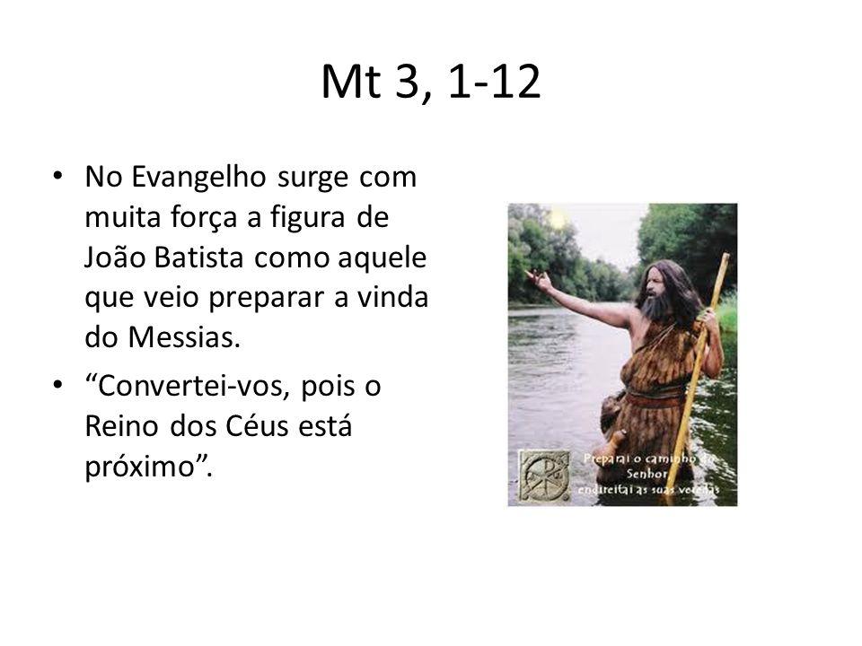 Mt 3, 1-12 No Evangelho surge com muita força a figura de João Batista como aquele que veio preparar a vinda do Messias.