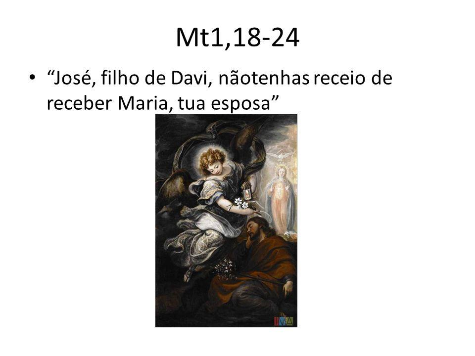 Mt1,18-24 José, filho de Davi, nãotenhas receio de receber Maria, tua esposa
