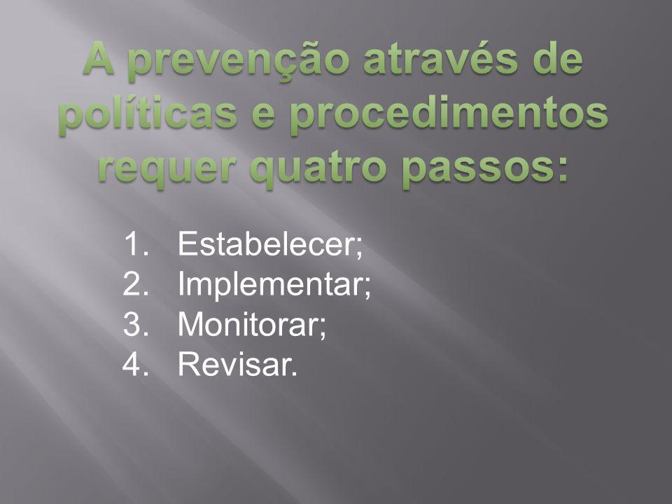 A prevenção através de políticas e procedimentos requer quatro passos:
