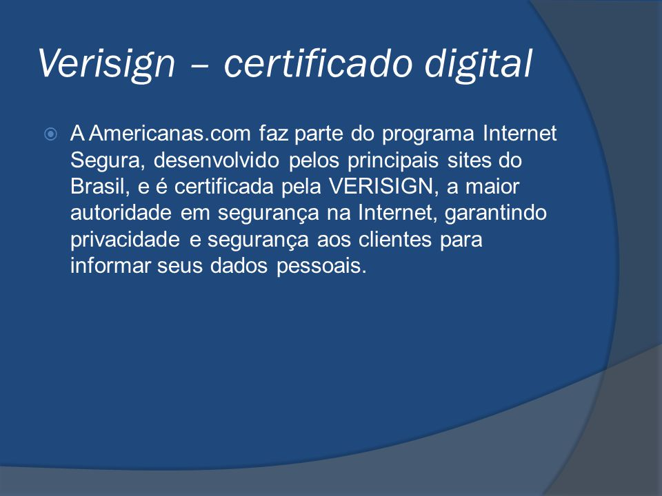 Verisign – certificado digital