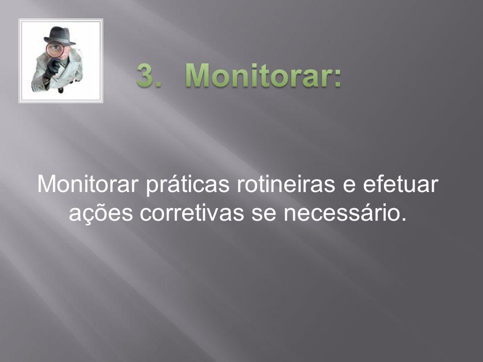 Monitorar: Monitorar práticas rotineiras e efetuar ações corretivas se necessário.