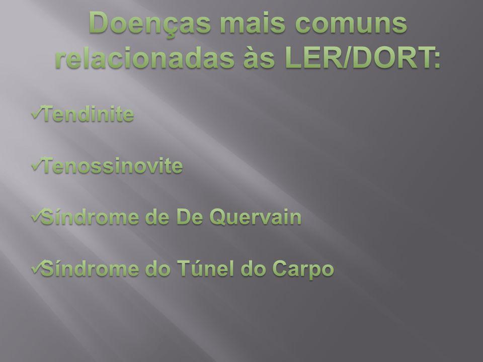 Doenças mais comuns relacionadas às LER/DORT: