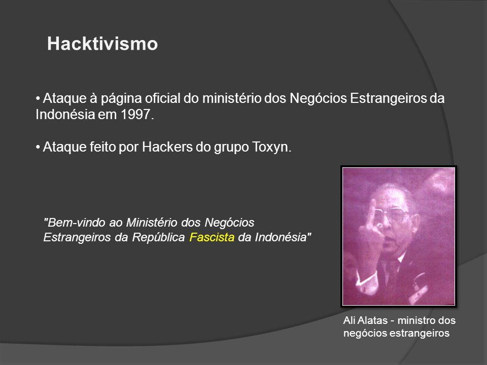 Hacktivismo Ataque à página oficial do ministério dos Negócios Estrangeiros da Indonésia em 1997. Ataque feito por Hackers do grupo Toxyn.