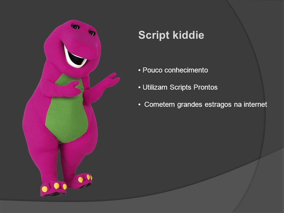 Script kiddie Pouco conhecimento Utilizam Scripts Prontos