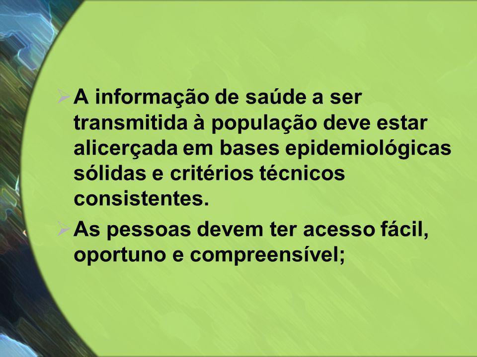 A informação de saúde a ser transmitida à população deve estar alicerçada em bases epidemiológicas sólidas e critérios técnicos consistentes.
