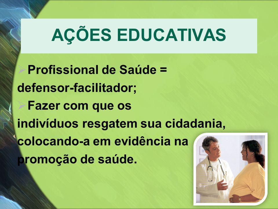 AÇÕES EDUCATIVAS Profissional de Saúde = defensor-facilitador;