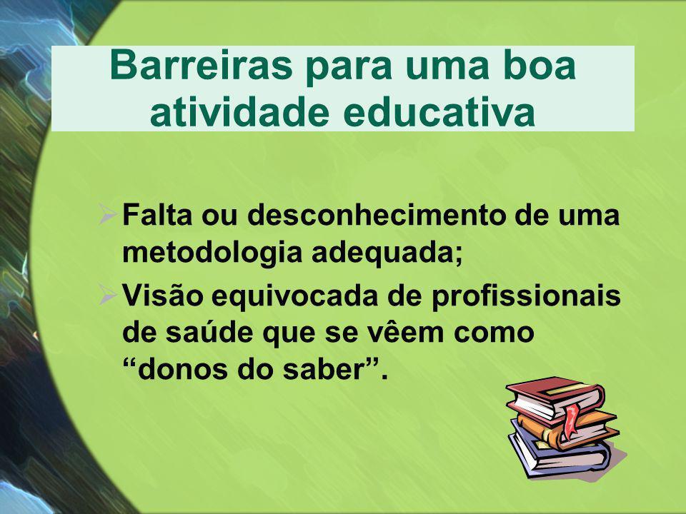 Barreiras para uma boa atividade educativa