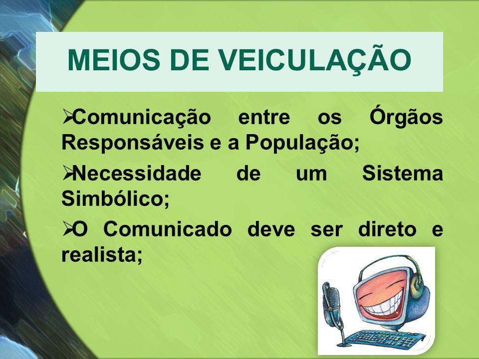 MEIOS DE VEICULAÇÃO Comunicação entre os Órgãos Responsáveis e a População; Necessidade de um Sistema Simbólico;