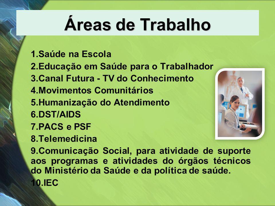 Áreas de Trabalho Saúde na Escola Educação em Saúde para o Trabalhador