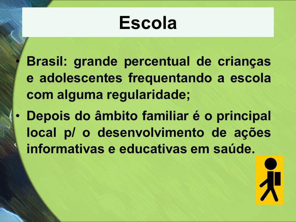 Escola Brasil: grande percentual de crianças e adolescentes frequentando a escola com alguma regularidade;