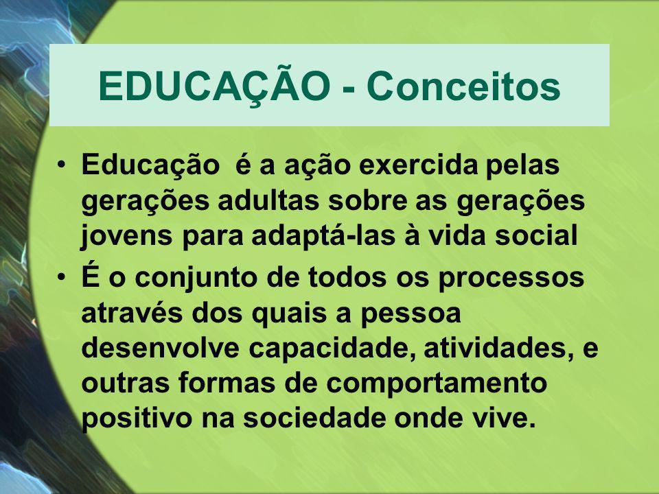 EDUCAÇÃO - Conceitos Educação é a ação exercida pelas gerações adultas sobre as gerações jovens para adaptá-las à vida social.
