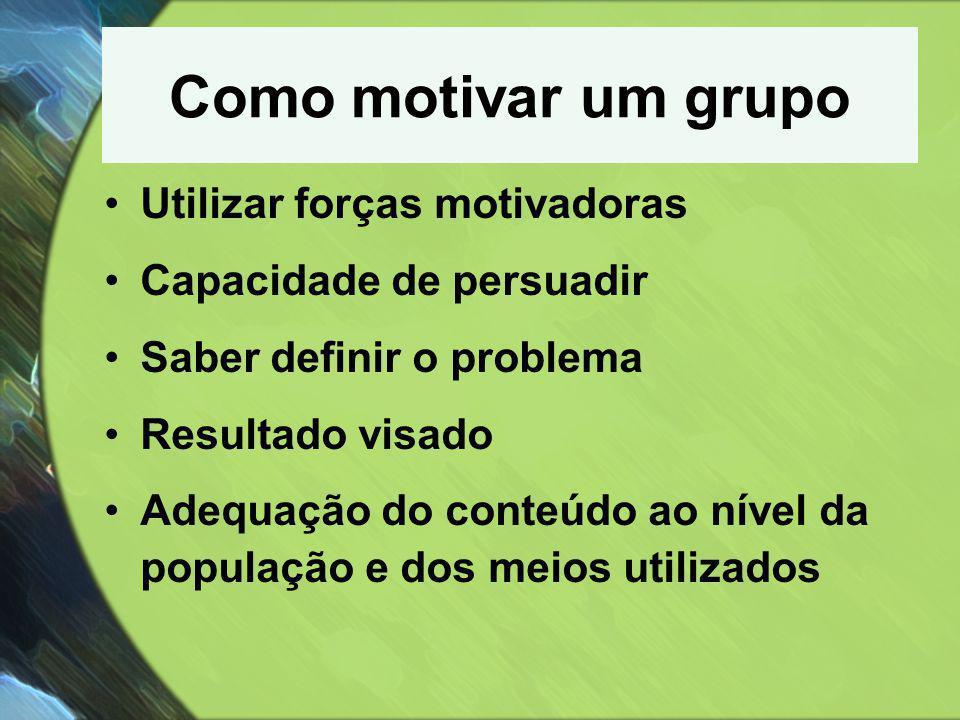 Como motivar um grupo Utilizar forças motivadoras