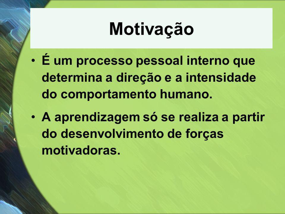 Motivação É um processo pessoal interno que determina a direção e a intensidade do comportamento humano.