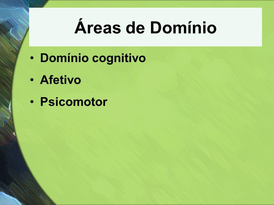 Áreas de Domínio Domínio cognitivo Afetivo Psicomotor