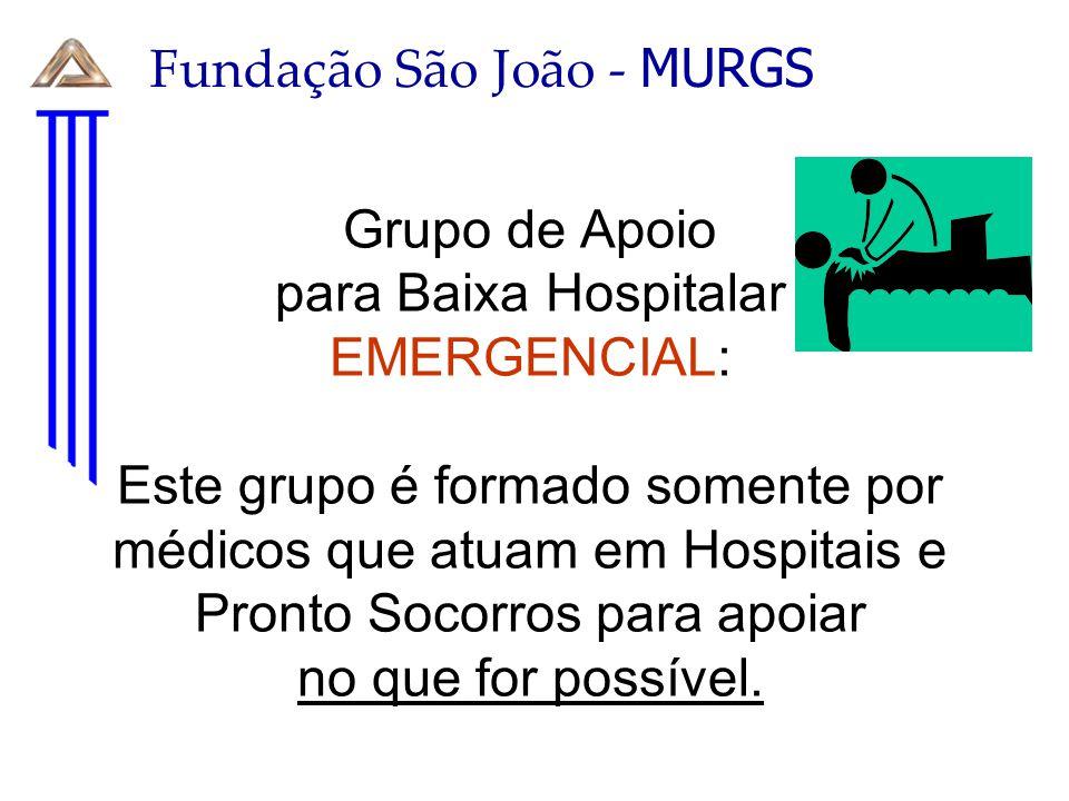 Grupo de Apoio para Baixa Hospitalar EMERGENCIAL: Este grupo é formado somente por médicos que atuam em Hospitais e Pronto Socorros para apoiar no que for possível.