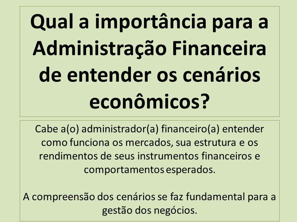 Qual a importância para a Administração Financeira de entender os cenários econômicos