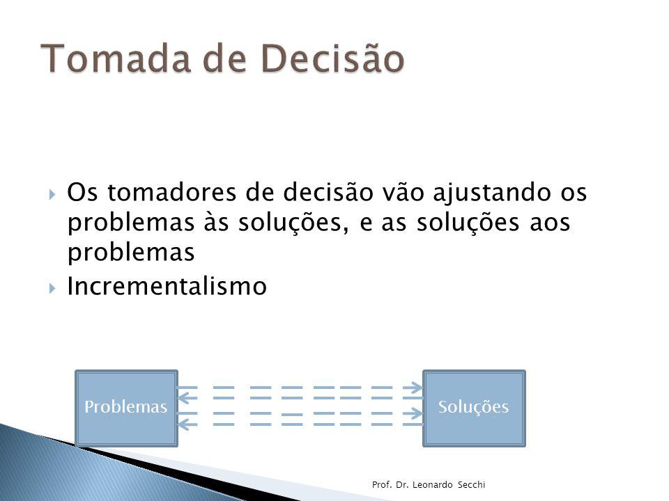 Tomada de Decisão Os tomadores de decisão vão ajustando os problemas às soluções, e as soluções aos problemas.
