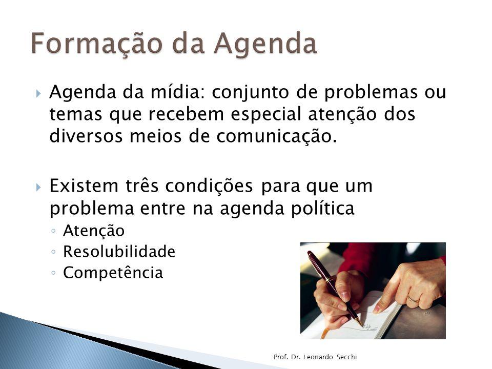 Formação da Agenda Agenda da mídia: conjunto de problemas ou temas que recebem especial atenção dos diversos meios de comunicação.