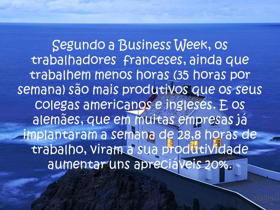 Segundo a Business Week, os trabalhadores franceses, ainda que trabalhem menos horas (35 horas por semana) são mais produtivos que os seus colegas americanos e ingleses.