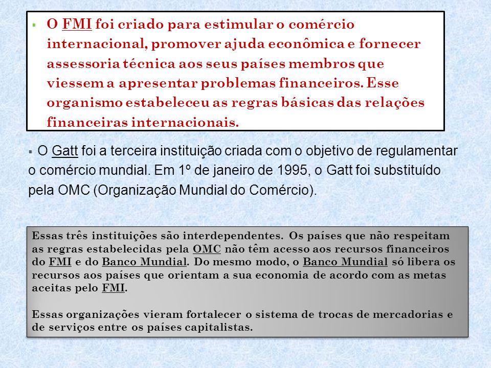 O FMI foi criado para estimular o comércio internacional, promover ajuda econômica e fornecer assessoria técnica aos seus países membros que viessem a apresentar problemas financeiros. Esse organismo estabeleceu as regras básicas das relações financeiras internacionais.