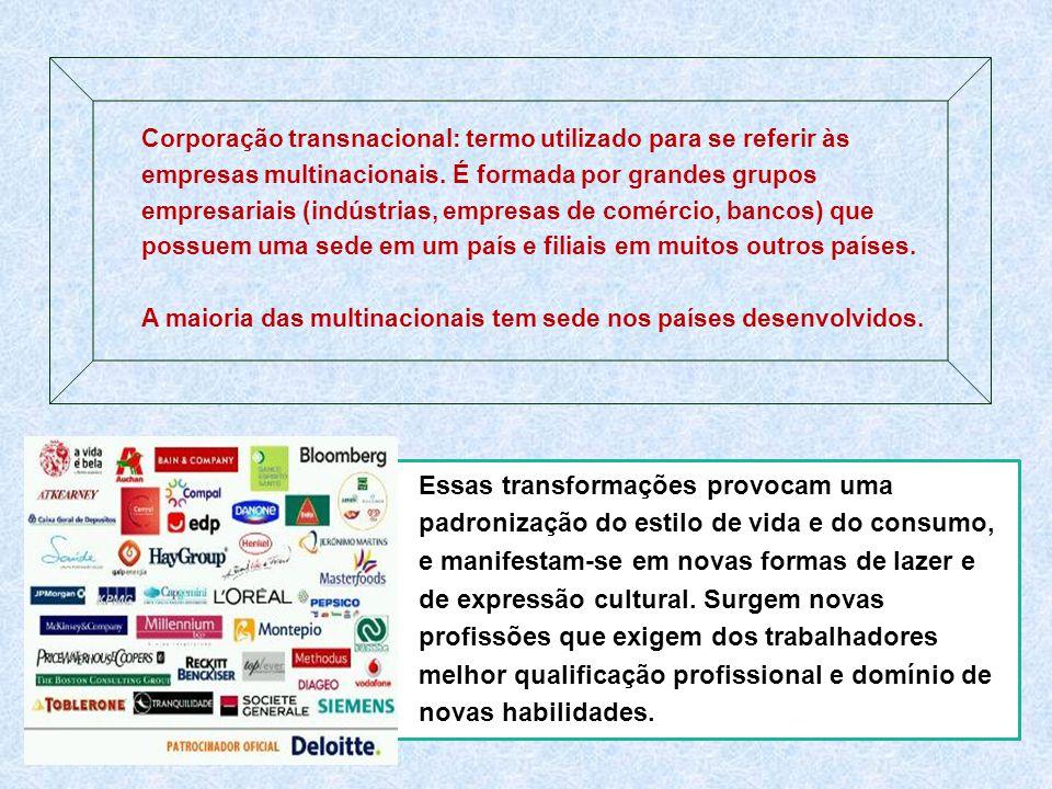 Corporação transnacional: termo utilizado para se referir às empresas multinacionais. É formada por grandes grupos empresariais (indústrias, empresas de comércio, bancos) que possuem uma sede em um país e filiais em muitos outros países. A maioria das multinacionais tem sede nos países desenvolvidos.