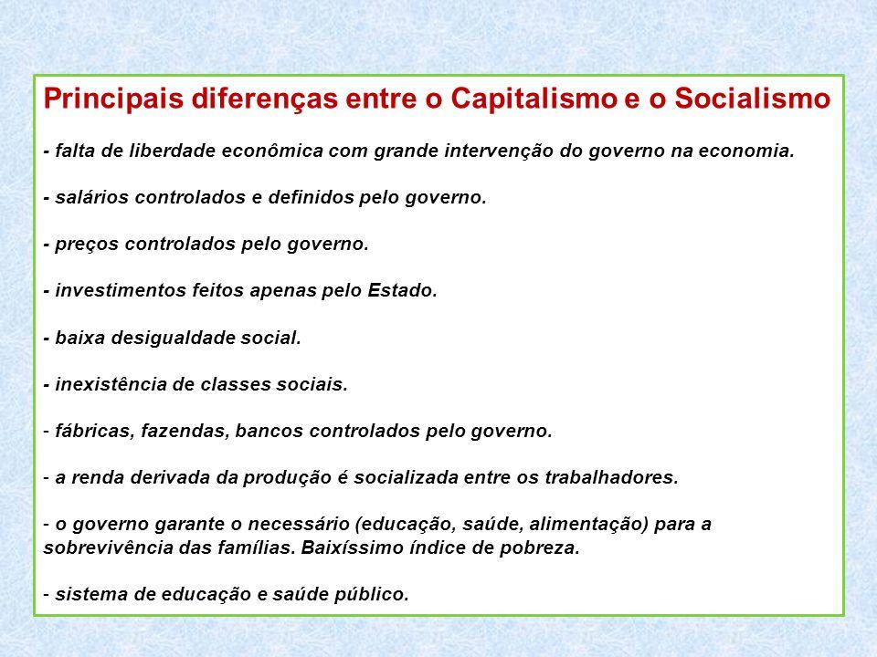 Principais diferenças entre o Capitalismo e o Socialismo