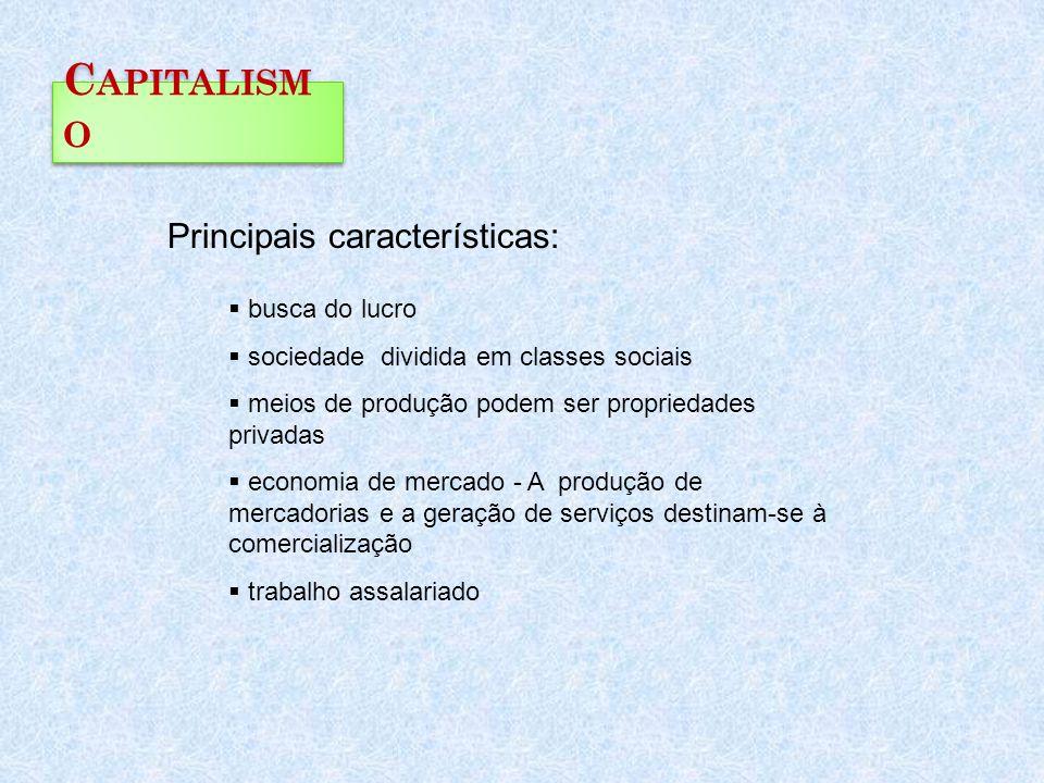 Capitalismo Principais características: busca do lucro
