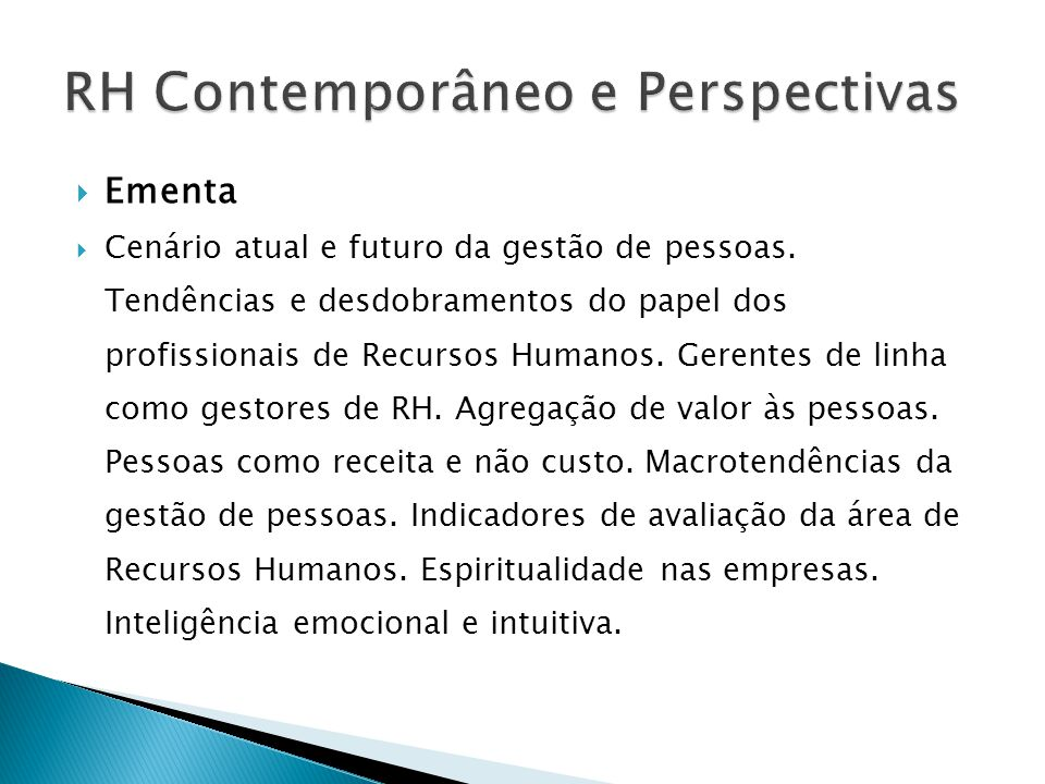 RH Contemporâneo e Perspectivas
