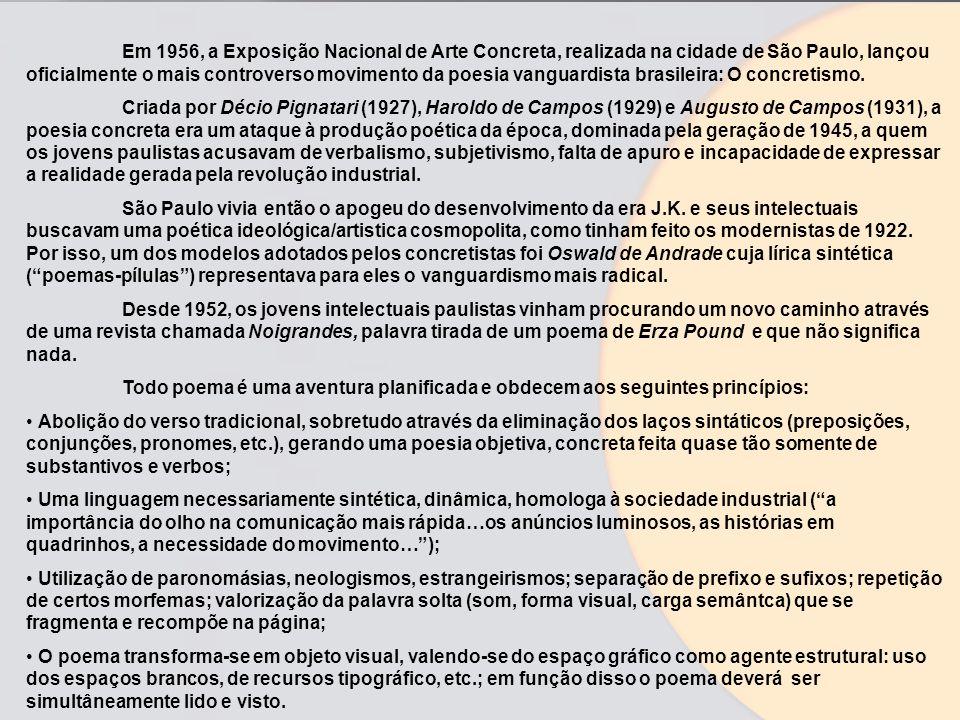 Em 1956, a Exposição Nacional de Arte Concreta, realizada na cidade de São Paulo, lançou oficialmente o mais controverso movimento da poesia vanguardista brasileira: O concretismo.