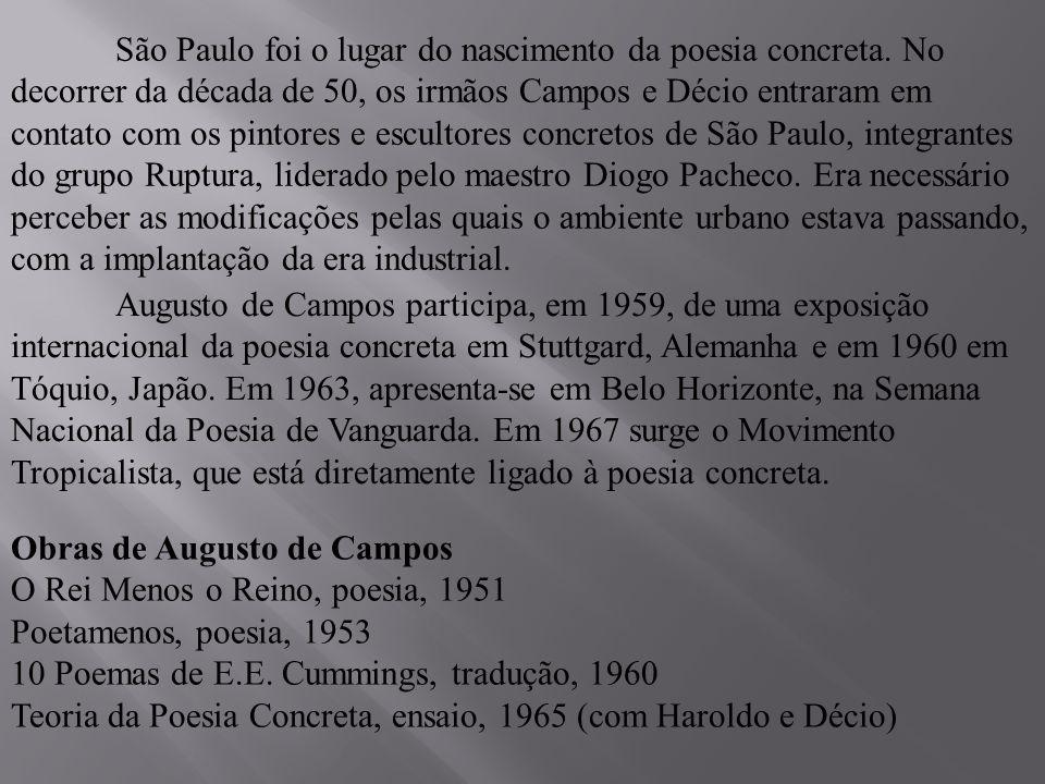São Paulo foi o lugar do nascimento da poesia concreta