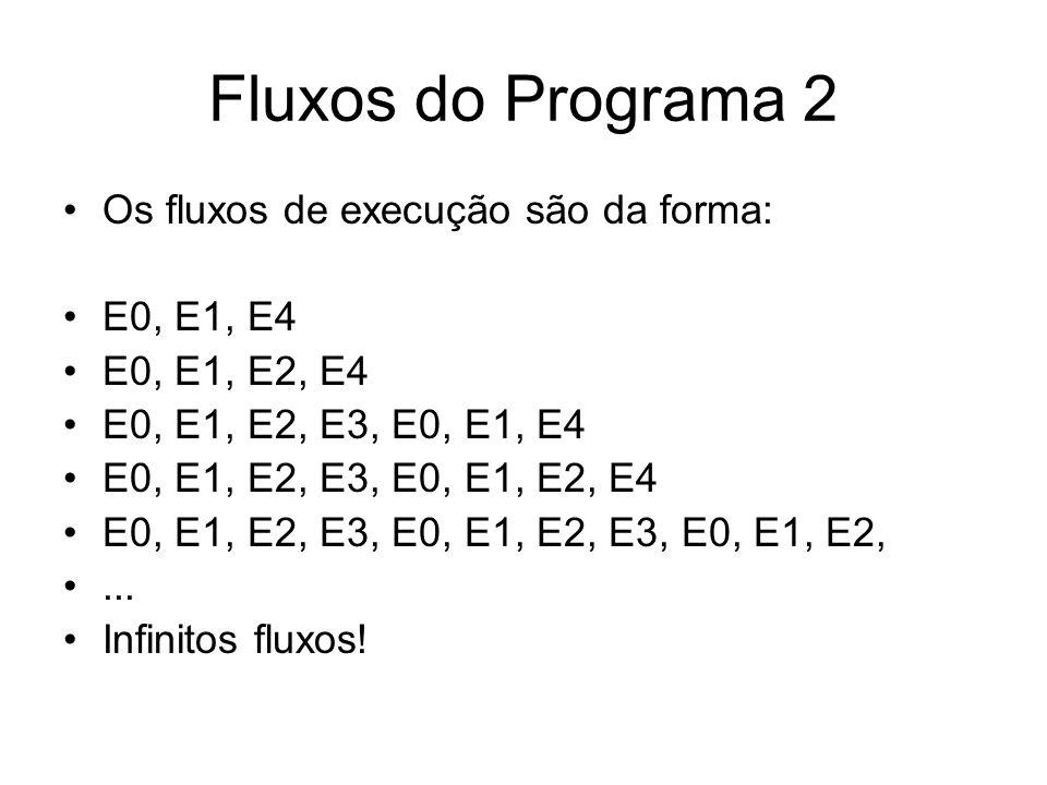 Fluxos do Programa 2 Os fluxos de execução são da forma: E0, E1, E4