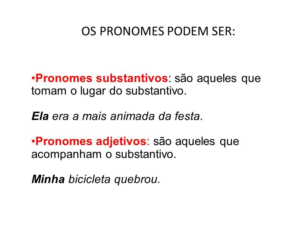 OS PRONOMES PODEM SER: Pronomes substantivos: são aqueles que tomam o lugar do substantivo. Ela era a mais animada da festa.