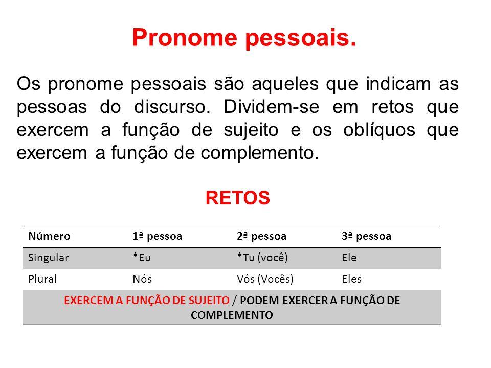 EXERCEM A FUNÇÃO DE SUJEITO / PODEM EXERCER A FUNÇÃO DE COMPLEMENTO