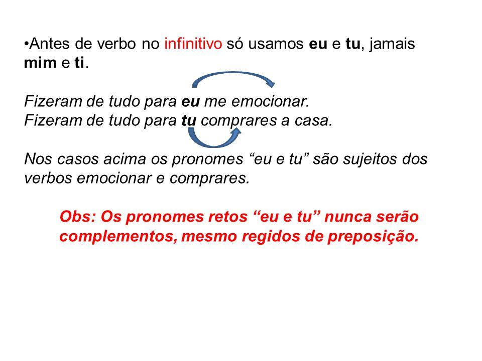 Antes de verbo no infinitivo só usamos eu e tu, jamais mim e ti.