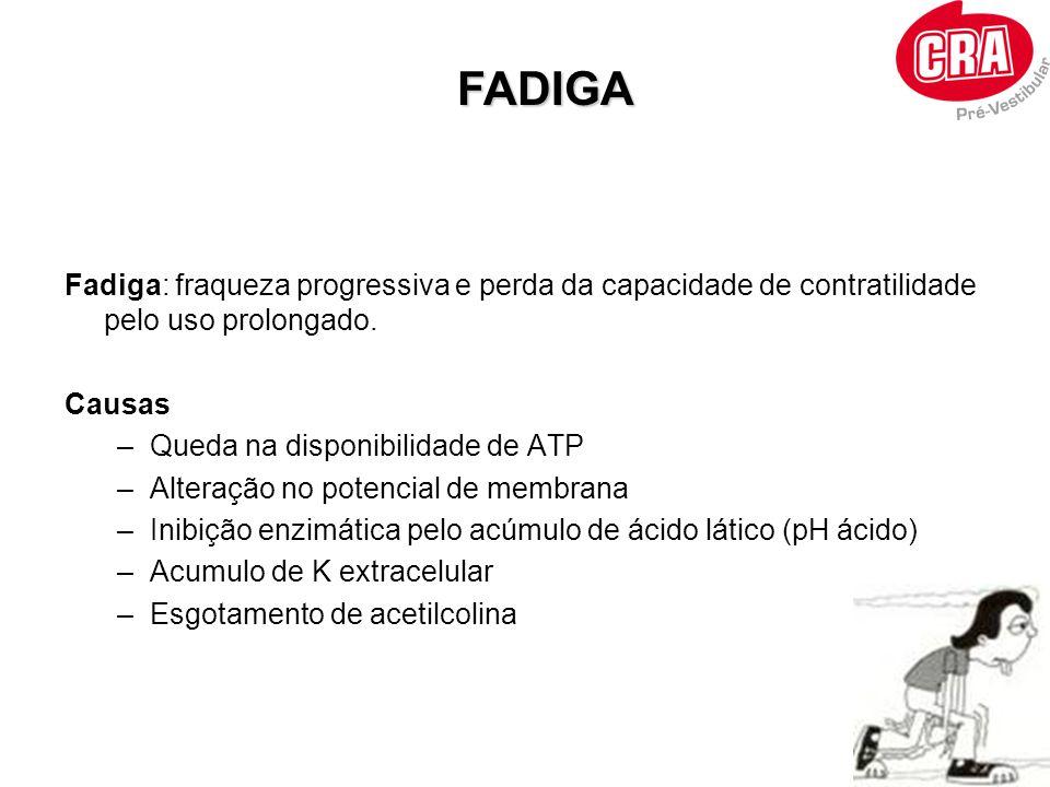 FADIGA Fadiga: fraqueza progressiva e perda da capacidade de contratilidade pelo uso prolongado. Causas.