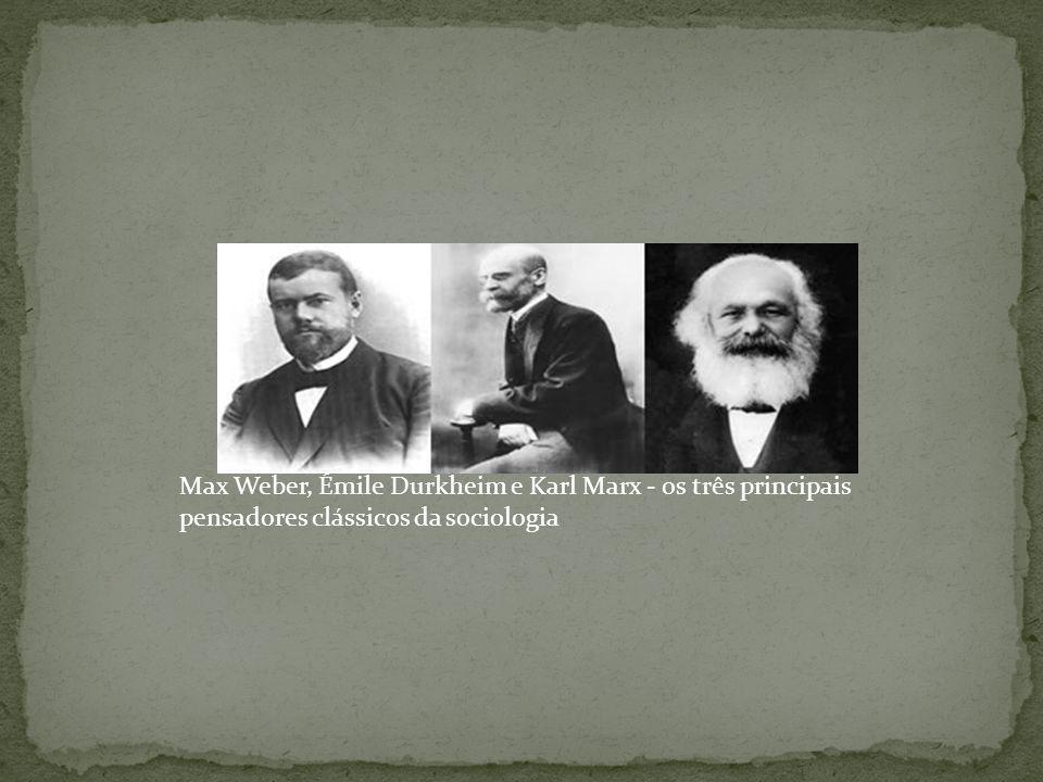 Max Weber, Émile Durkheim e Karl Marx - os três principais pensadores clássicos da sociologia