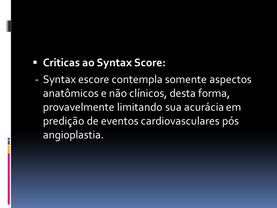 Criticas ao Syntax Score: