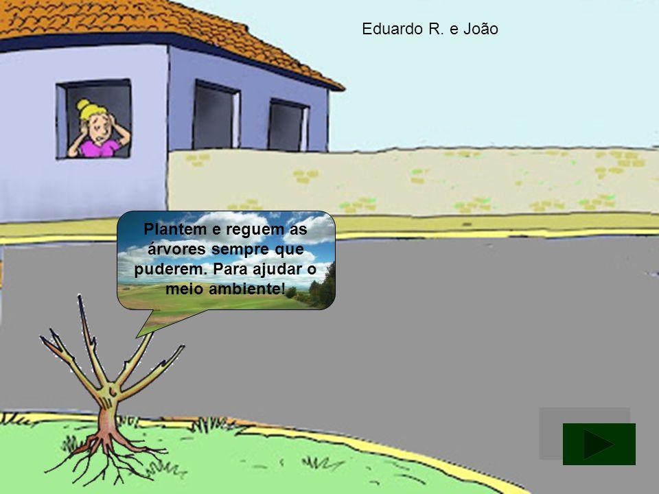 Eduardo R. e João Plantem e reguem as árvores sempre que puderem. Para ajudar o meio ambiente!