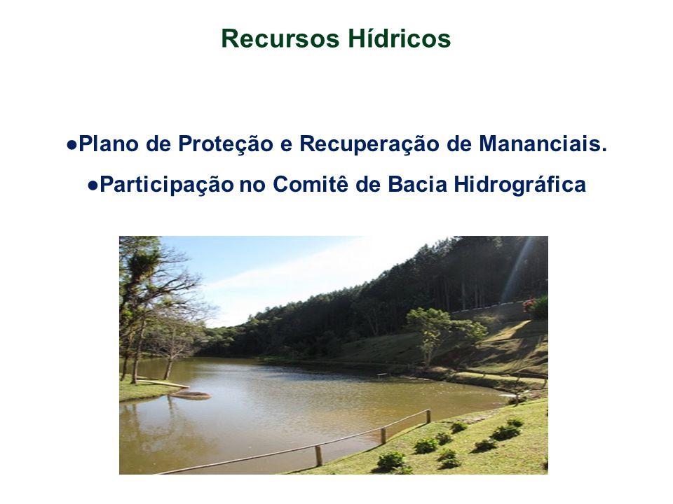 Recursos Hídricos ●Plano de Proteção e Recuperação de Mananciais.