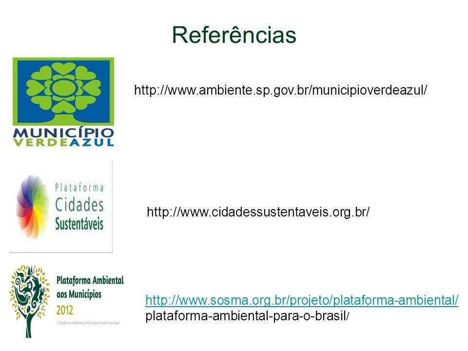 Referências http://www.ambiente.sp.gov.br/municipioverdeazul/