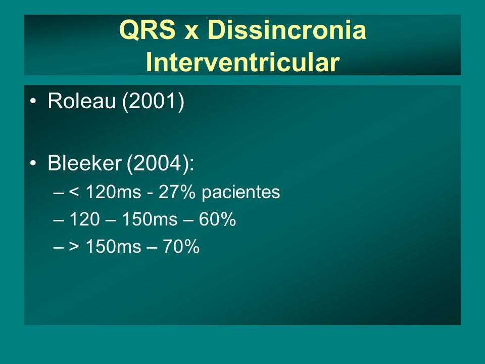 QRS x Dissincronia Interventricular