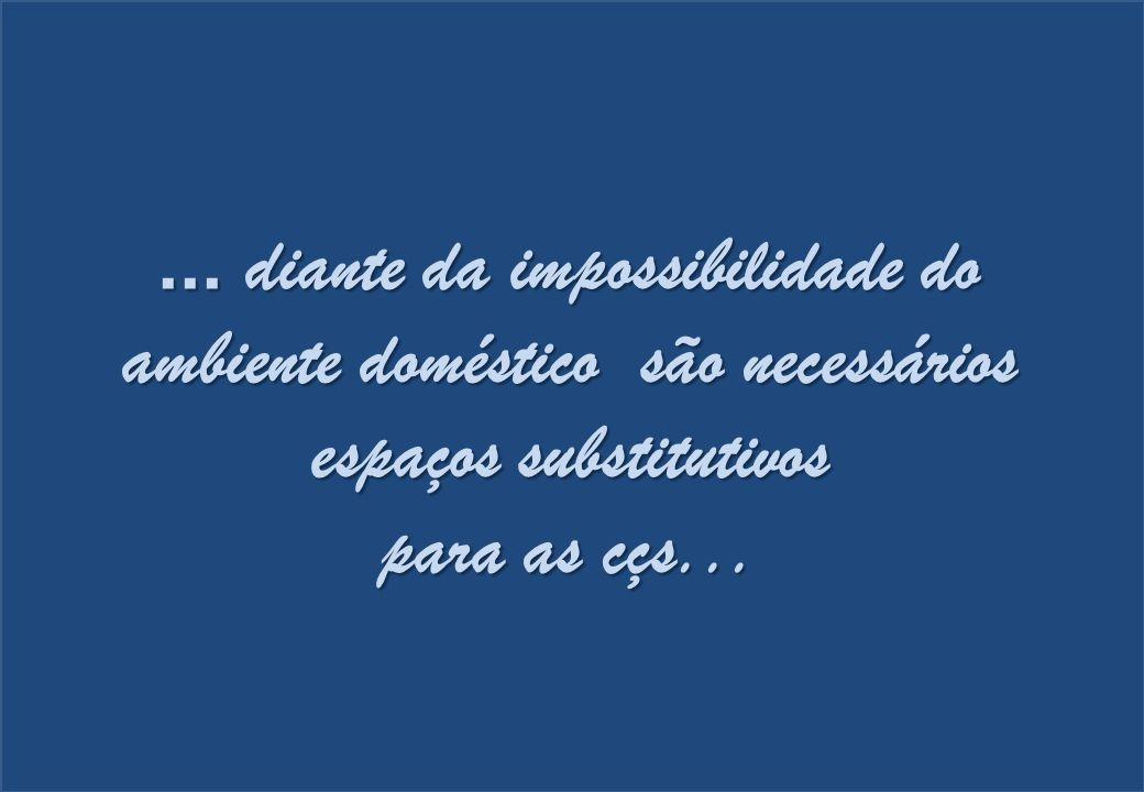 ... diante da impossibilidade do ambiente doméstico são necessários espaços substitutivos