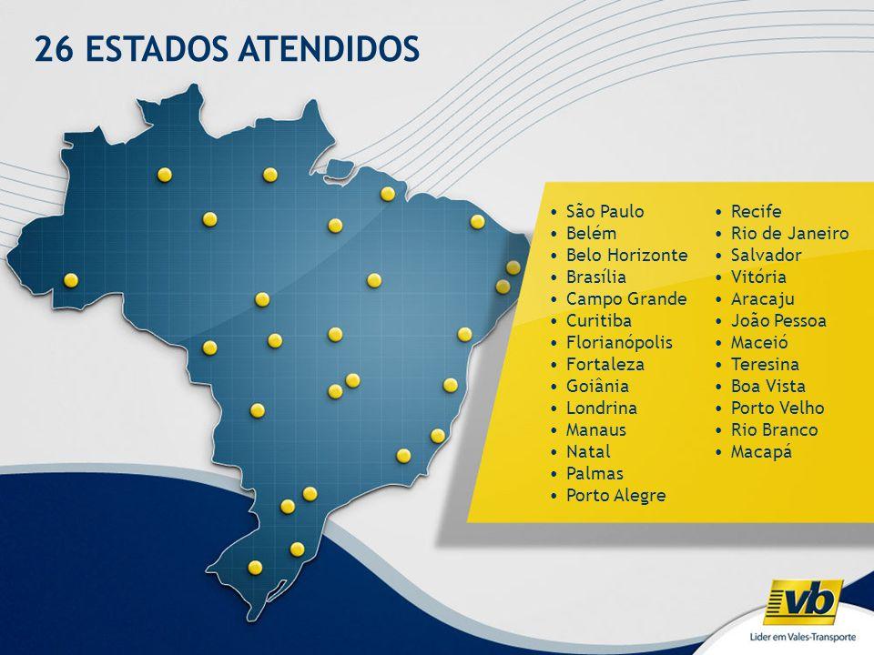 26 ESTADOS ATENDIDOS São Paulo Belém Belo Horizonte Brasília