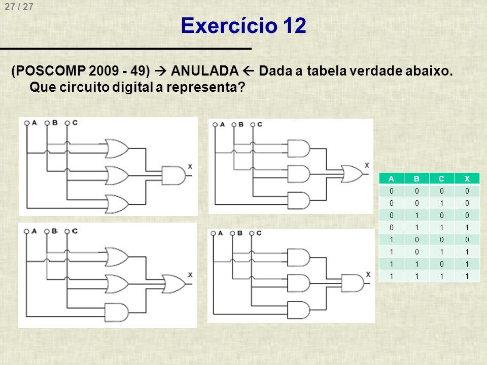 Exercício 12 (POSCOMP 2009 - 49)  ANULADA  Dada a tabela verdade abaixo. Que circuito digital a representa