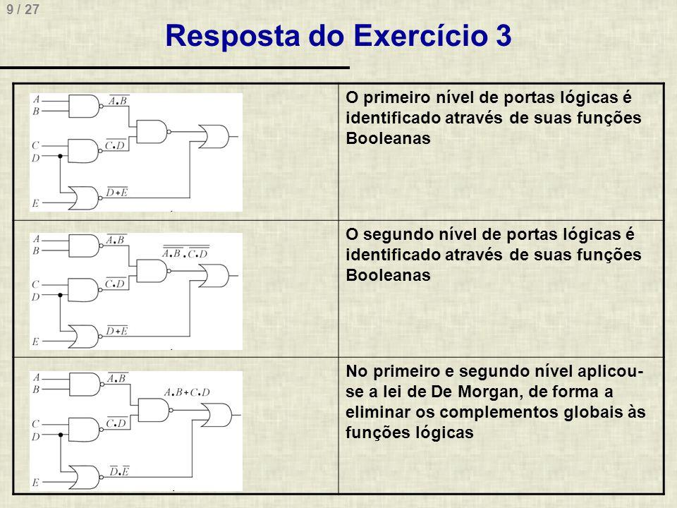 Resposta do Exercício 3 O primeiro nível de portas lógicas é identificado através de suas funções Booleanas.