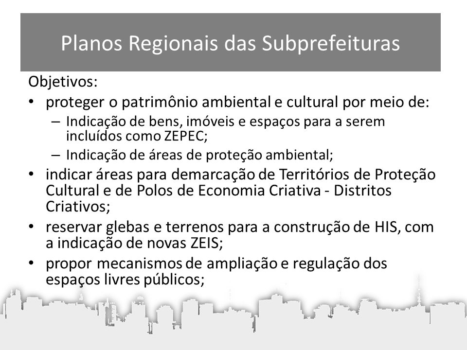 Planos Regionais das Subprefeituras